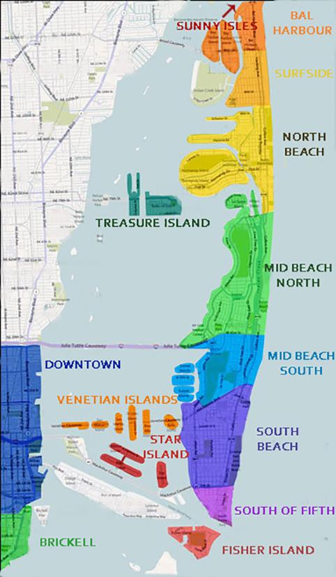 miami , florida barrios y condos ubicación